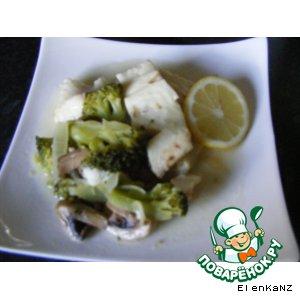 Рецепт Рагу из рыбы с шампиньонами и брокколи