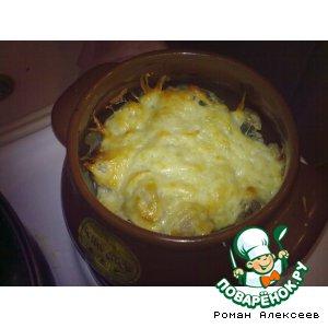 Рецепт Картошка с салом и мясом в горшочке