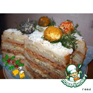 "Рецепт Бутербродный торт ""Шарики"""