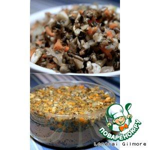 Рецепт Блины с печеночно-луково-грибным рийетом