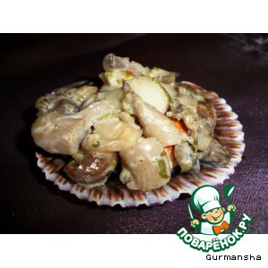Рецепт Морские гребешки с грибами в сметанном соусе
