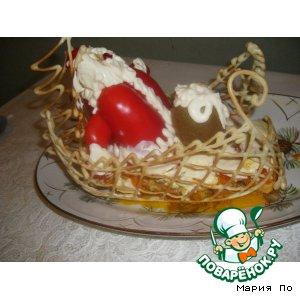 """Рецепт Закусочный тортик """"Сани деда мороза"""""""