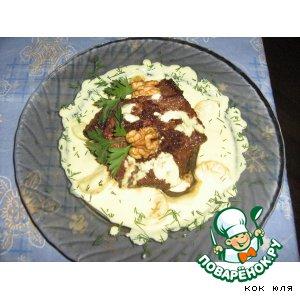 Рецепт Говядина в мандариновом маринаде  и сливочный соус с дольками мандарина