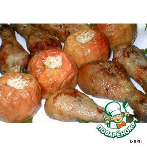 Рецепт Куриные ножки с печеными яблоками
