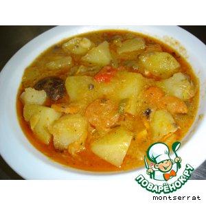 Рецепт Картофель, тушенный с грибами и овощами