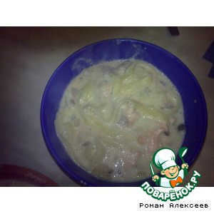 Рецепт Паста в сливочно-чесночном соусе с форелью и вешенками