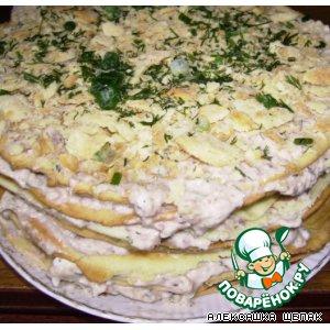 """Рецепт Закусочный торт """"Рыбный Наполеон"""""""