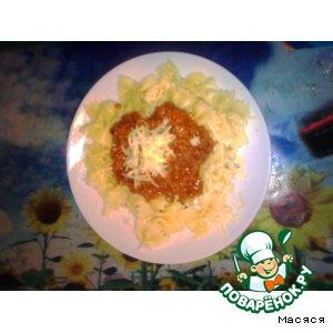 Рецепт Бантики с соусом болоньезе