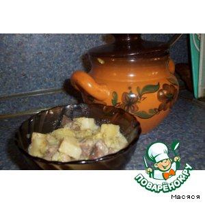 Рецепт Молодые овощи с мясом в горшочке