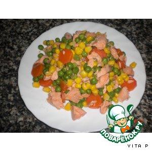 Рецепт Быстрый салат с лососем