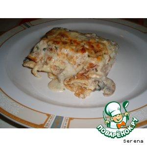 """Рецепт Блинная запеканка с грибами и соусом """"Бешамель"""""""