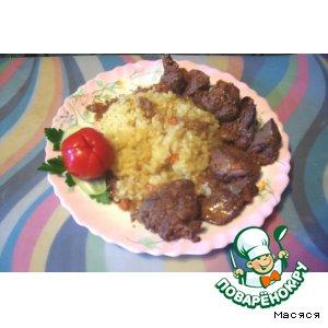 Рецепт Тушеная печень с рисом