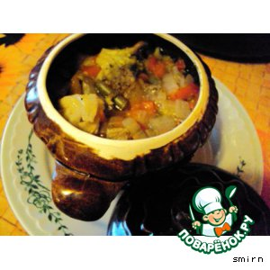 Рецепт Пельмени  с грибами в горшочке