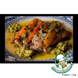 Рецепт Телятина с болгарским перцем и соусом Песто