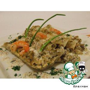 Рецепт Каннелони с грибами и креветками под пикантным соусом