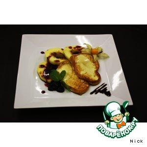 Рецепт Жареный скаморца с яблоками и ежевичным конфитюром