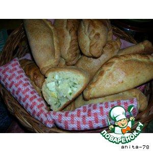 Рецепт Пирожки из творожного теста с рисом, зеленым луком и яйцом