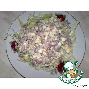 Рецепт Салатик с фасолькой и ветчиной