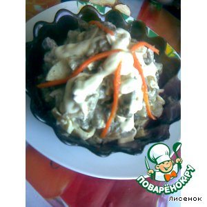 Салат из печени и грибов