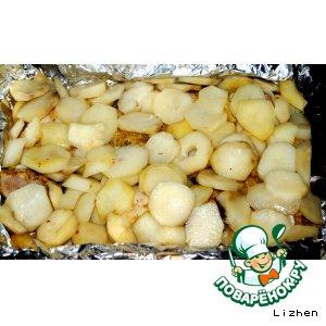 Рецепт Куриные ножки с картофелем, запечeнные в фольге