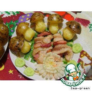 Рецепт  Жареные рулетики из рыбы с картофельными грибочками