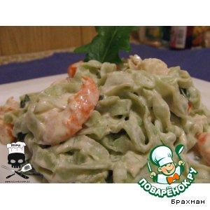 Рецепт Зеленые фетучини с креветками и шпинатом в лимонном соусе