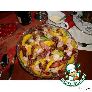 Рецепт Праздничный салат из креветок и манго