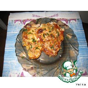 Рецепт Мясо с помидорами и сыром