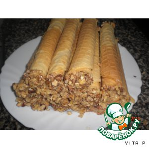 Рецепт Вафельные трубочки со сгущeнкой