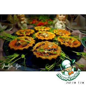 """Рецепт Тарталетки с паштетом из утиной печени с белыми грибами и вишней """"TIGER"""""""