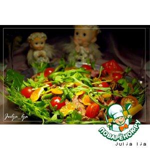 """Рецепт Свежий салат с уткой, запечeнными шампиньонами и мандариновой заправкой """"Новогодние традиции"""""""