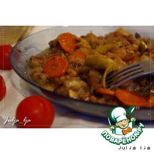 Рецепт Рагу из говядины и курицы с яблоками, тимьяном и чeрносмородиновым джемом