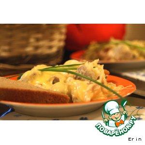 Рецепт Картофельная запенка с морепродуктами под грибным соусом