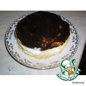 Рецепт Блинный тортик с творожным кремом и фруктами