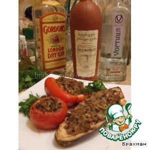 Рецепт Печеные овощи, фаршированные курицей, с соусом бешамель и грибами
