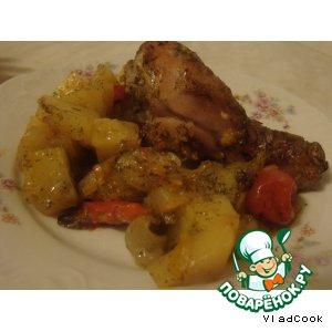 Рецепт Сочное жаркое из курицы с овощами