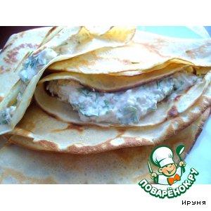 Рецепт Блинчики с брынзой, зеленью и беконом