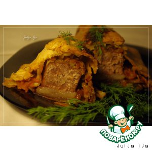 Рецепт Говядина с овощами и опятами в слоeном тесте