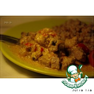 Рецепт Говядина с шампиньонами и овощами в сливочном соусе с имбирeм