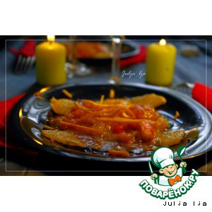 """Рецепт Креветки в цитрусовой глазури с апельсиновым соусом """"Блаженство"""""""