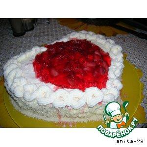 Рецепт Миндальный торт с клубникой, манго и взбитыми сливками