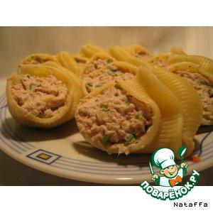 Рецепт Ракушки, фаршированные кремом из тунца