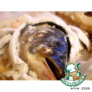 Рецепт Рыба в соли, фаршированная морепродуктами