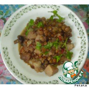 Рецепт Свинина с чечевицей и грибами