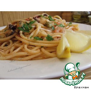 Рецепт Букатини с морепродуктами в конверте