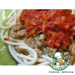 Рецепт Макароны с куриным фаршем и соусом из томатов