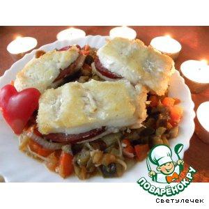 Рецепт Филе трески с салями и тушеными баклажанами