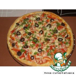 """Рецепт Пицца с ветчиной и шампиньонами """"В день рождения сына"""""""