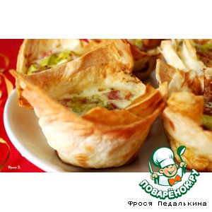 Рецепт Тарталетки из лаваша с омлетом