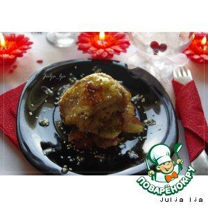 Рецепт Пикантный рулет из белой рыбы с шампиньонами, сыром и кедровыми орешками под горчично-медовым соусом